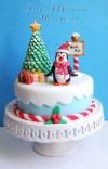 Torta con pinguino - torta decorata 3D modeling