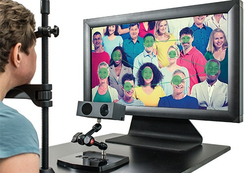 Livetrack Lightning eye-tracking setup with display and chinrest