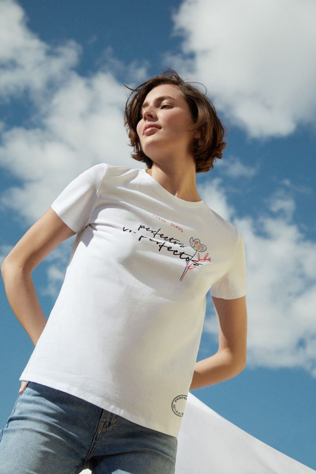 Cortefiel Camiseta estampada Blanco
