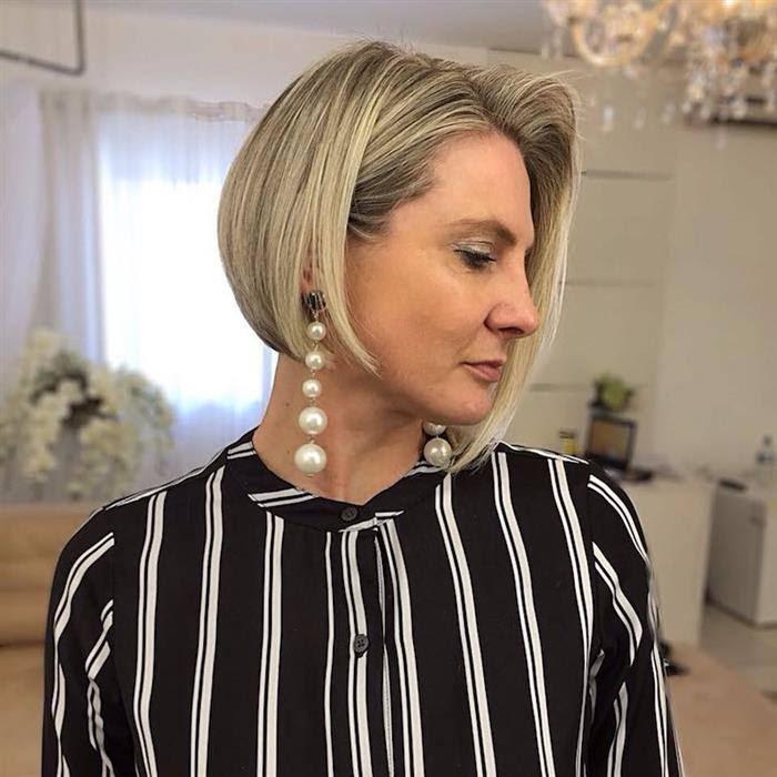 cortes de cabelo para rosto redondo 2021 com luzes