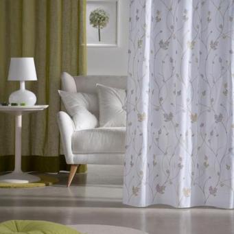 Visillos blancos bordados pistacho Comersan diseño