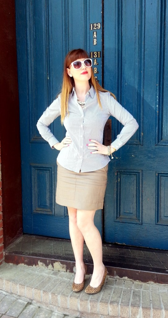 Shirt: Banana Republic Skirt: Banana Republic Wedges: Banana Republic Necklaces: JCREW