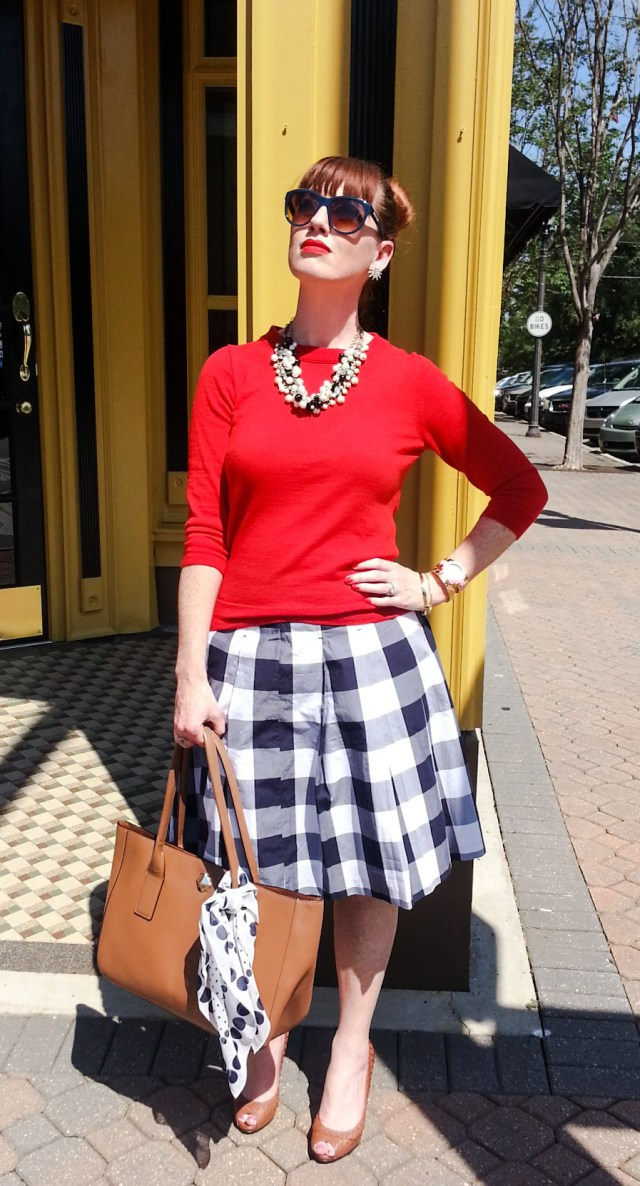 Skirt: Boden Sweater: JCREW Shoes: Ralph Lauren Bag: Kate Spade NY Necklaces: JCREW Sunnies: Franco Sarto