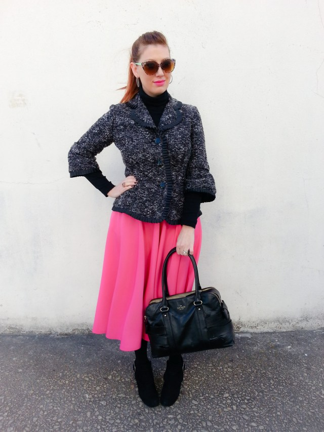Jacket: Carole Little Turtleneck: Under Armour Skirt: ASOS Bag: Kate Spade NY Boots: Nine West