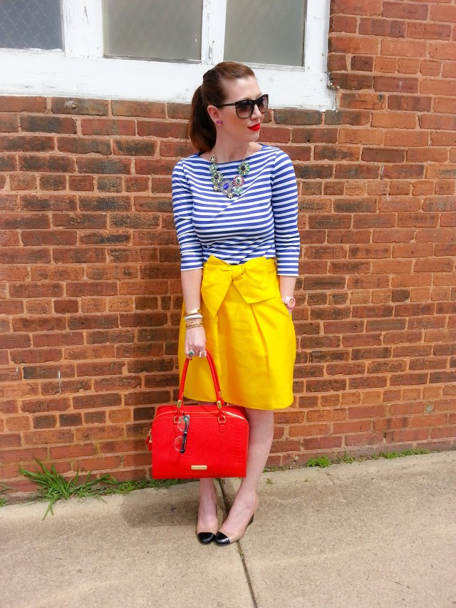 TOP: MERONA-TARGET SKIRT: KATE SPADE NY SHOES: KATE SPADE NY BAG: OLIVIA+JOY SUNNIES: FRANCO SARTO NECKLACE: BANANA REPUBLIC