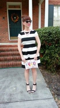 Dress: Elle @Kohls Shoes: BCBGeneration @ShoeDazzle Necklace: Kate Spade Clutch: Kate Spade Sunglasses: Colehaan