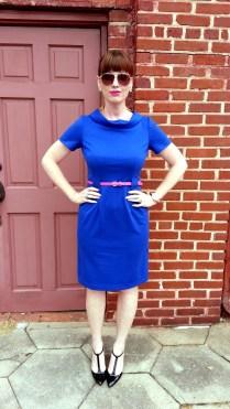 Dress: Donna Morgan Belt: JCREW Heels: Adrienne Vittadini Earrings: Bealles