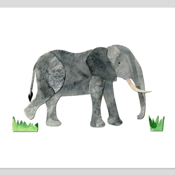 African Elephant 8x10 Assembled Watercolor Print