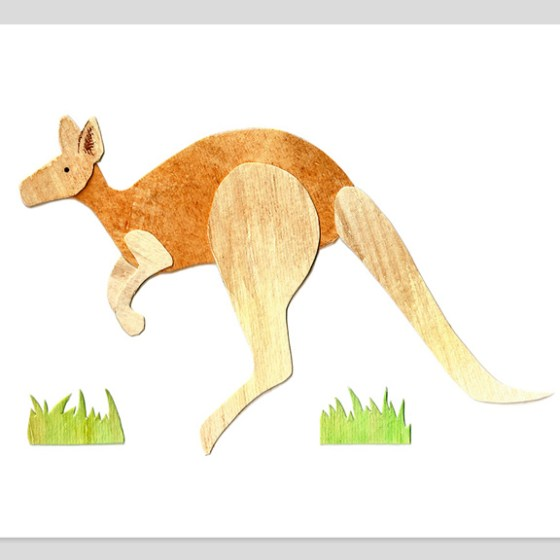 Kangaroo Assembled Watercolor Print by Cortney North