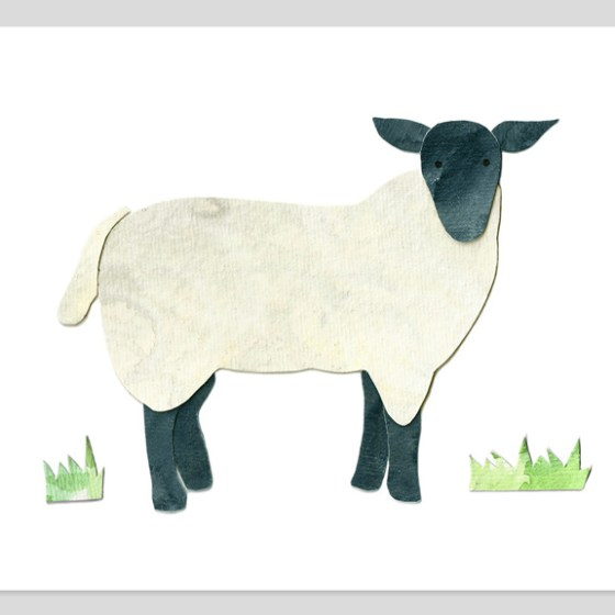 Sheep Assembled Watercolor Print by Cortney North