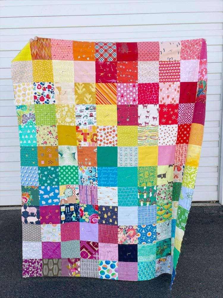 "Colorful quilt using 4"" squares"