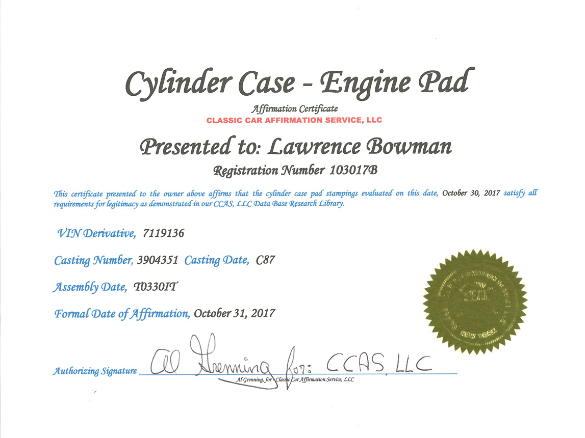 1967 yellow corvette l88 cylinder case engine pad certificate