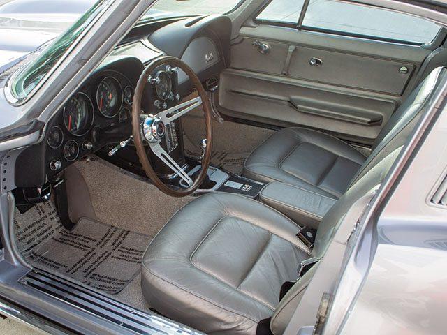 1965 silver l79 corvette coupe interior