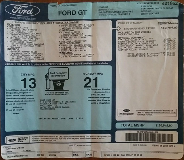 ford gt window sticker