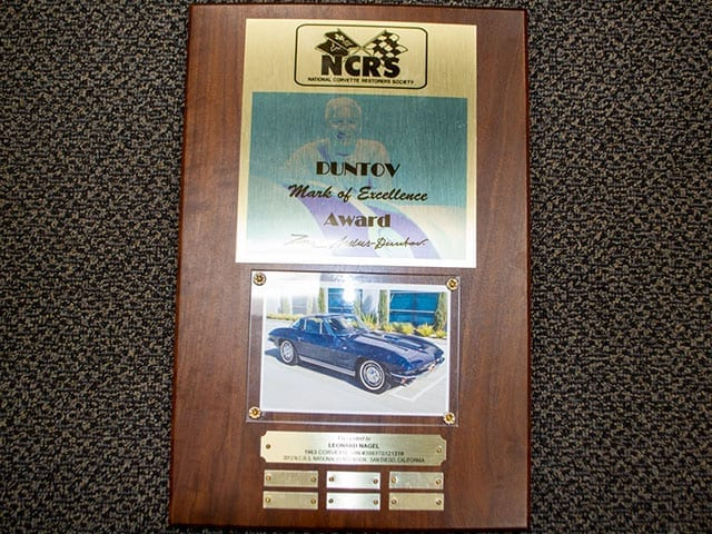 1963 blue corvette split window coupe duntov award 1