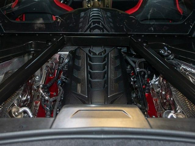 2020 C8 Corvette Silver Red Engine 1