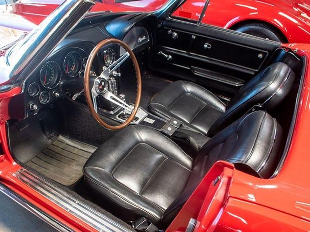 1965 red corvette convertible interior 1