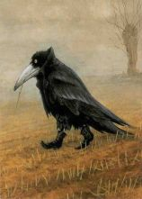 Although entitled Krahe (or crow) this iconic painting by Rudi Huzlmeier as always struck me as more rook like because of the bill