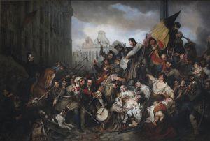 De Belgische opstand verbeeld, schilderij van Gustaf Wappers (foto: Szilas/Royal Museums of Fine Arts of Belgium, Brussels).