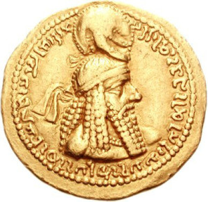 Ardashir I on a gold coin (source: Classical Numismatic Group, Inc. http://www.cngcoins.com, CC BY-SA 3.0 license).
