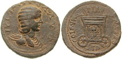 Julia Maesa on a coin (source: Classical Numismatic Group, Inc. http://www.cngcoins.com, CC BY-SA 3.0 license).