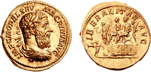 Aureus with the face of Marcus Opellius Macrinus (photo: Classical Numismatic Group, Inc. http://www.cngcoins.com).