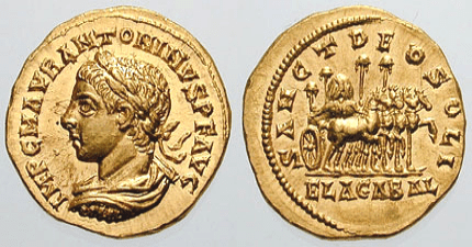 "Aureus with Elagabalus' image. The reverse reads ""Sanct(o) Deo Soli Elagabal(o)"" (source: Classical Numismatic Group, Inc. http://www.cngcoins.com, CC BY-SA 3.0 license)."