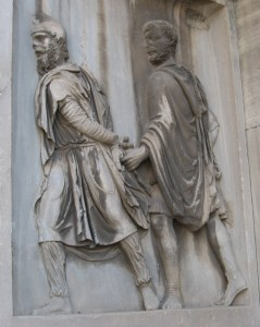 A Roman soldier leading away a Parthian prisoner (Arch of Septimius Severus, Rome).