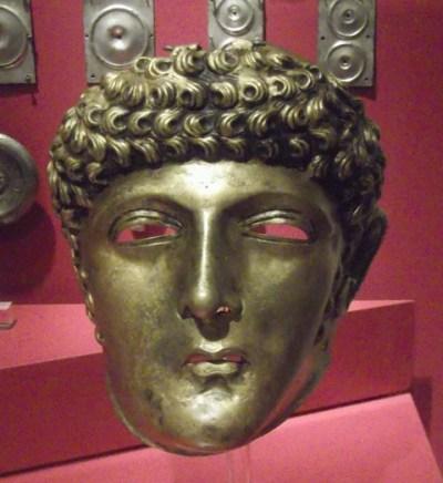 Bronze face mask of an auxiliary horseman, 2nd century (Rijksmuseum van Oudheden, Leiden).