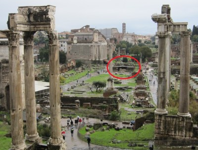 The Forum Romanum today. In the centre are the remains of the Temple of the Divine Julius.