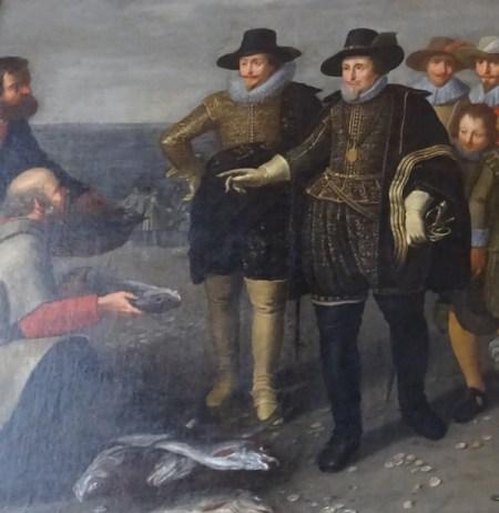 Maurits (rechts) en zijn halfbroer Frederik Hendrik (links), detail van een schilderij van Adriaen van Nieulandt, Eerste Kamer, Den Haag.
