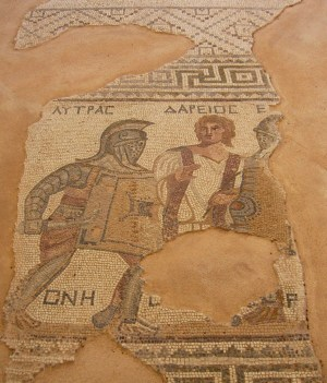 Mosaic of gladiators in combat.