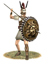 Roman triarius, still equipped in the style of a Greek hoplite.