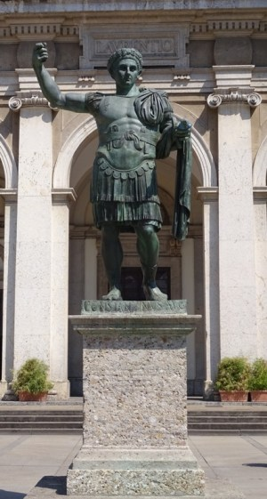 Statue of Constantine the Great in the courtyard.