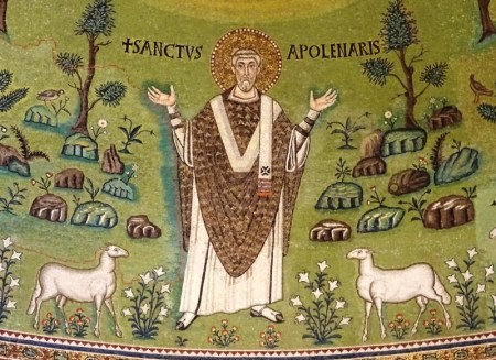 Saint Apollinaris and two of his sheep. Note the red lines on the left.