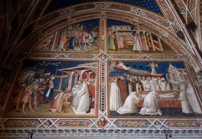 Scenes from the life of Saint Benedictus by Spinello Aretino.