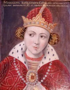 Gravin Margaretha. Het paneeltje vermeldt haar titel 'Imperatricx' (Eerste Kamer, Den Haag).