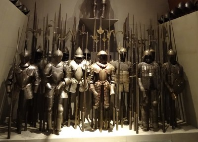 Collection of medieval armour.
