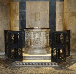 The 14th century baptismal font, sadly ignored by most tourists.