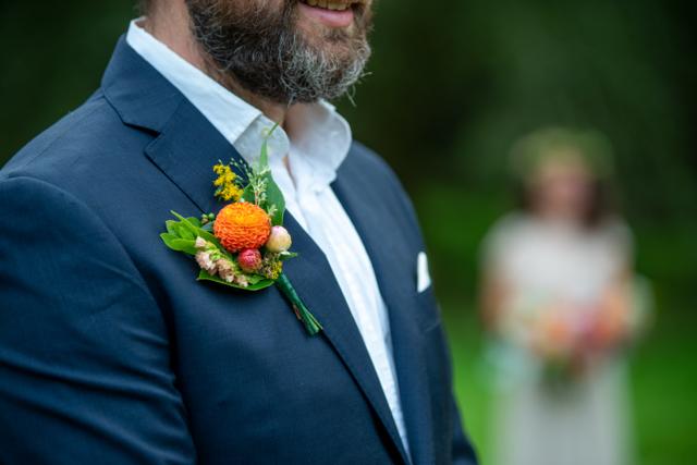 Oregon coast wedding flowers, boutonniere