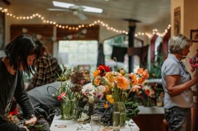 Arranging DIY wedding flowers at the Oregon coast