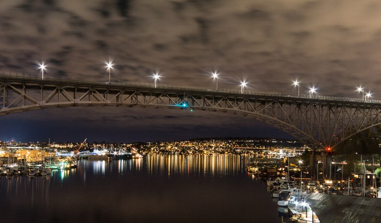 Seattle's Aurora Bridge at night