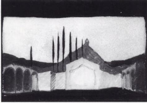 A watercolour sketch by Knut Ström for a Romeo and Juliet production at the Lorensberg (Stockholm) in 1922.