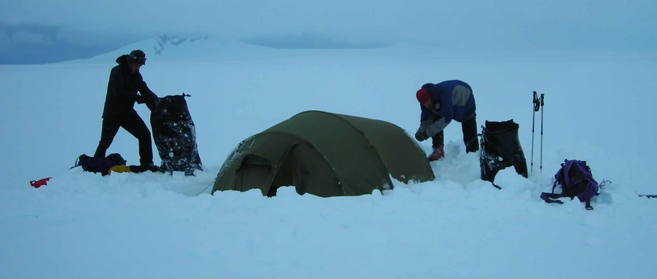 33 Digging out the tent
