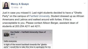 "Fairfield University Students Reportedly Had A ""Ghetto-Themed"" Party"