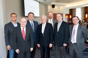 Left to right: Christoph Westphal, Barnett Institute director Barry Karger, Noubar Afeyan, Dieter Hoehn, Jonathan Fleming, Peter Barrett, and College of Science dean Murray Gibson. Photo by Brooks Canaday.