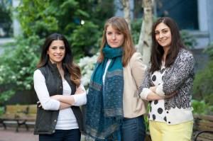 From left to right, Dalal Alhomaizi, Anna Neumann and Lauren Sears, three of over 60 undergraduate student researchers in Lisa Feldman Barrett's Interdisciplinary Affective Science Laboratory.