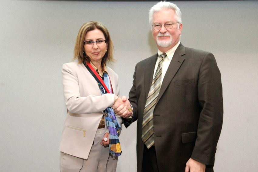 Psychology professor Iris Berent and Provost James Bean