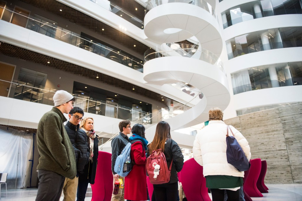 students on tour in ISEC building