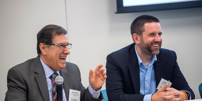 Kamal Rashid and Jared Auclair participate in a panel discussion at the MassBioEd's 2017 Life Sciences Workforce Conference